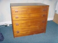 Retro Chest of Drawers 4 draws from the Stag Furniture Cantata Teak range by Sylvia & John Reid