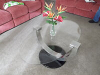 oval coffee table glass topped excellent