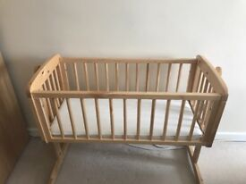 Wooden Swinging Crib with Mattress