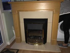 Electric fireplace with oak surround