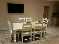 Absolute Stunning Bespoke Shabby Chic Table and Chair Set - 6ft x 3ft -Cream-White