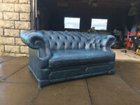 2 seater antique blue chesterfield DELIVERY AVAILABLE