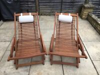 Wooden Deckchairs (Pair)
