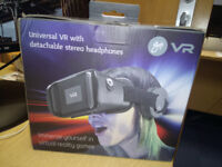 Brand New Universal VR with Detachable Stereo Headphones.