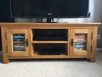 Wooden TV / Media unit with glass doors