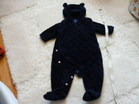 GAP AND MOTHERCARE Quilted chambray bear one piece.0-3 M