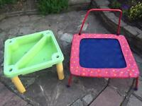 Child's sandpit and trampoline