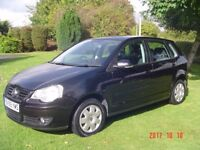 VOLKSWAGEN POLO 1.4 S 5d AUTO 79 BHP 2005 55 gleaming black 3 owners moted f/s/history