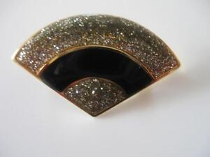 GORGEOUS OLD VINTAGE FAN-SHAPED GLITTERY JEWELED BROOCH.['60's]