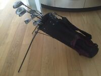Wilson Pro Staff golf bag plus 8 clubs, balls and glove