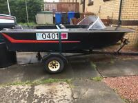 Boat. Broom with trailer.