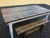 Lovely rustic / shabby chic table and benches