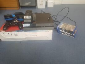 Ps4 500gb , 6 games with more on the harddrive , dual shock controller , headset and charging dock.