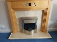 Marble fireplace with pine wood surround