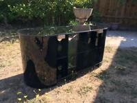 TV Cabinet - Black glass and wood