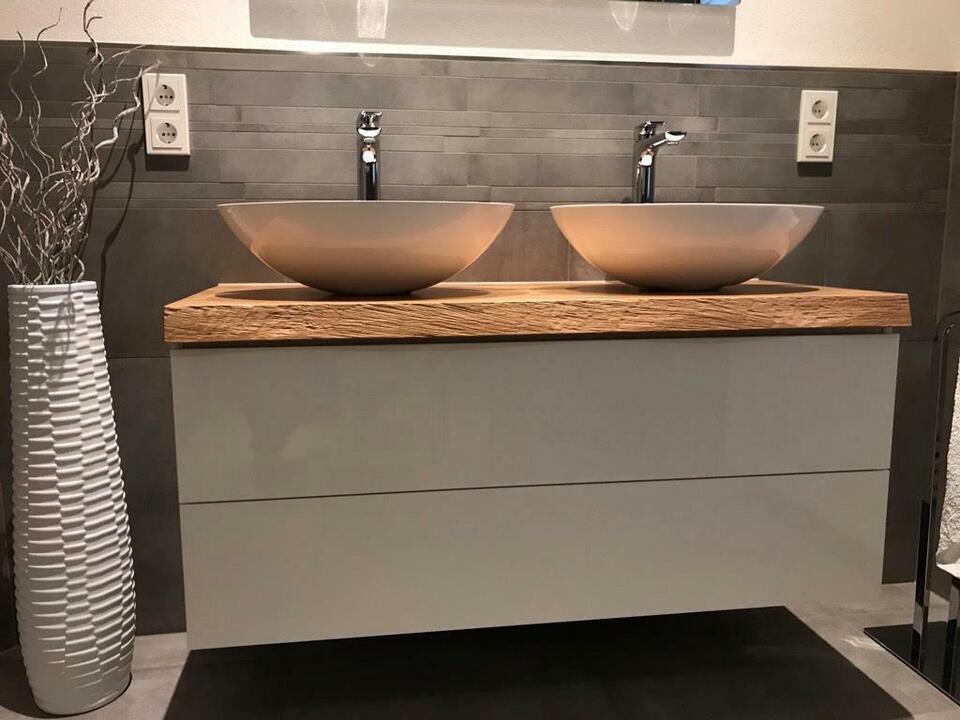 Aufsatzwaschbecken Platte Waschtisch Holz Eiche massiv Baumkante