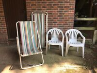 Two VINTAGE DECKCHAIRS and two white plastic garden chairs - great for summer!