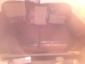 2 Large 2 Seater Brown Leather sofas