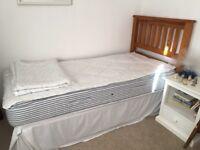 Standard size single bed with mattress, wooden slatted head board
