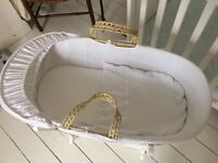John Lewis Moses basket, stand and brand new mattress