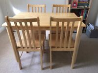 John Lewis small solid pine dining table with 4 chairs