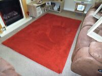 large red rug 77 long by 53inch wide immaculate from smoke and pet free home