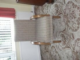 Two Easy Arm Chairs ,Cloth upholstery with timber arm rest