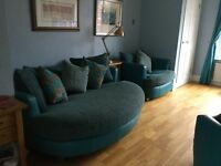 DFS 3 piece suite, blue with large sofa revolving chair and arm chair. Good condition.
