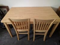 Dining Table & 2 Chairs In Pine