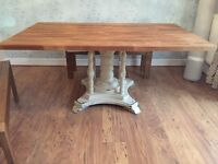 Large Solid wood dining table with shabby chic base very heavy chunky table