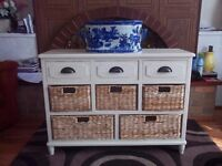 Antique Cream Wood Sideboard 3 drawer 5 basket