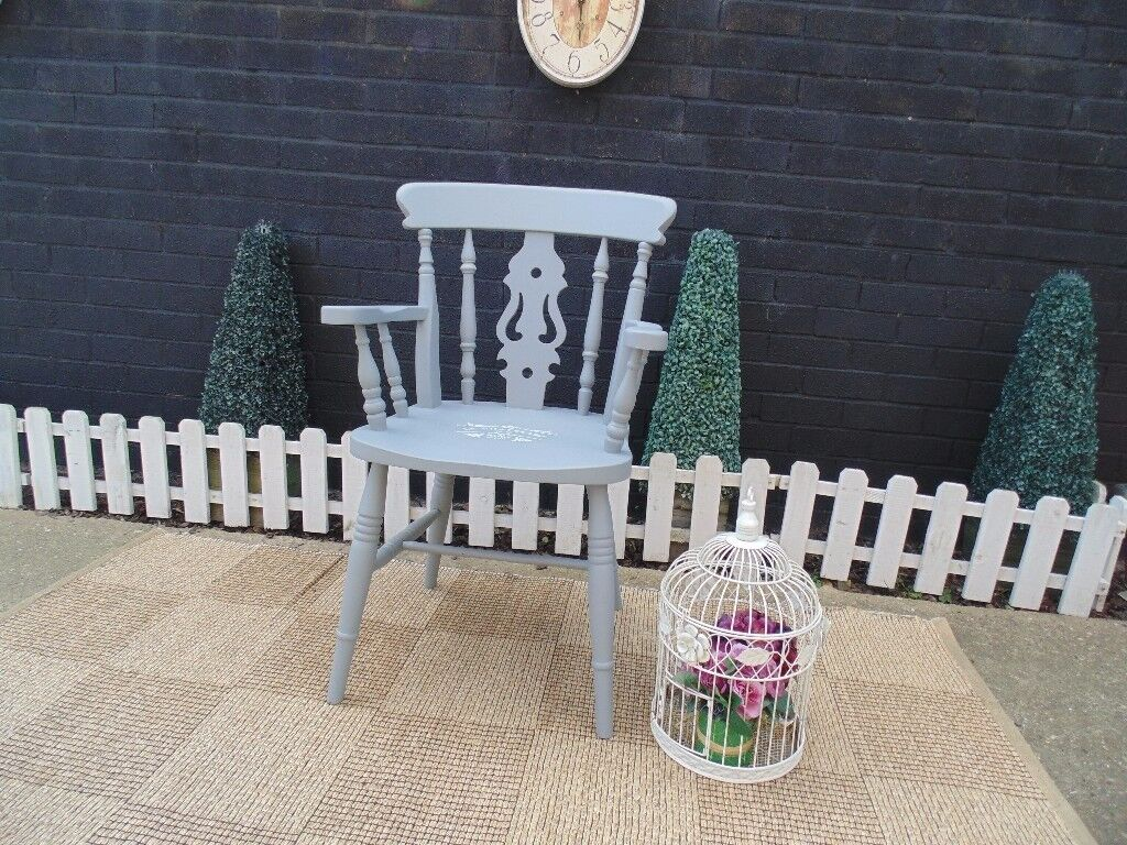 SOLID PINE FARMHOUSE CARVER CHAIR PAINTED WITH LAURA ASHLEY PARIS GREY