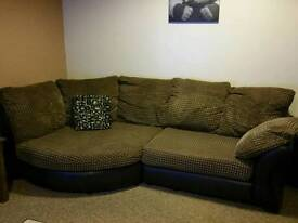 Cuddle corner sofa and armchair. Less than 3 years old