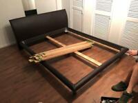King size Bed frame with leather head board