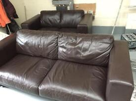 Leather or faux leather couches