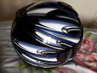 Shoei blue black motorbike helmet