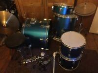 Electric Blue 5 Piece Boston Drum Set 5 drums, 2 cymbols and Stool