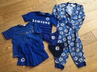 Age 4-7. Boys Chelsea football kit, t-shirt, shorts, onesie, PJ's, pants. Boys bundle.