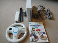 Nintendo Wii Games Console - Plus Mario Kart Game & Wheel