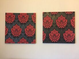 Set of 2 Black & Red Homemade Square Canvas