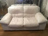 White Leather 2 seater sofa (DFS) free for uplift