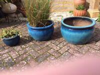 Three Blue Ceramic Garden pots