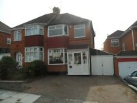 3 BEDROOM SEMI DETACHED HOUSE TO LET, PERRY BARR, WENSLEYDALE RD, DRIVEWAY, UNFURNISHED