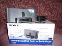 Sony iphone/ipod docking station/clock/radio with remote control