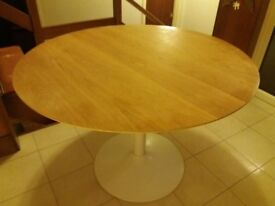 Habitat kitchen table. Oak, round kitchen table with white base.