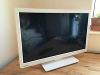 "24"" White Toshiba Flat Screen LED TV With Built in DVD Player"