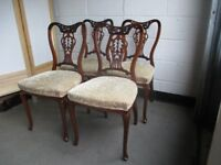 SET OF FOUR VINTAGE MAHOGANY DINING CHAIRS WITH PIERCED BACK DETAIL FREE DELIVERY