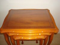 NEST OF 3 TABLES IN YEW WOOD FINISH