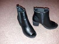 Black peep toe boots, size 5