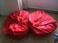 2 Red Panelled XL Bean Bags